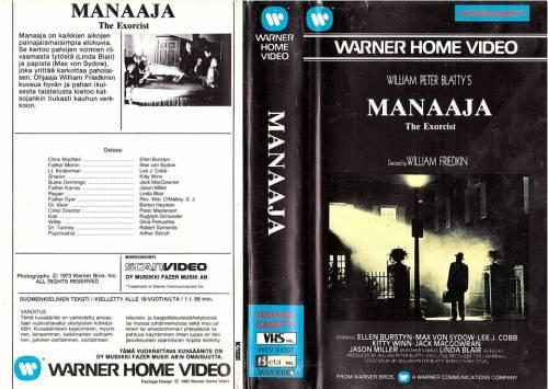 Manaaja (1973) director: William Friedkin | VHS | ScanVideo, Oy Musiikki Fazer Ab (finland)